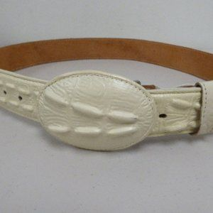 Other - Vintage white crocodile belt 34 boho rockabilly
